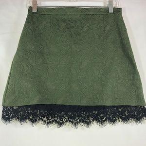 TopShop Green Textured Lace Hem A-Line Skirt Sz 8